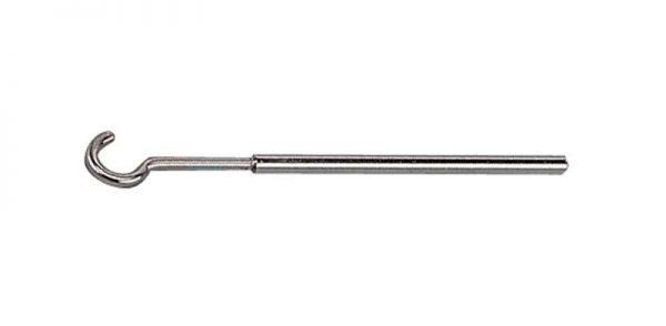 0005 Barras de hierro niquelado Ø 6 con extremidad de gancho, Longitud 13 cm